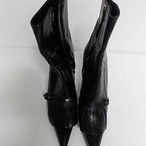Ysl Yves Saint Laurent Black Leather Tassel Toe Accent Side Zip Ankle Boot 39  Photo