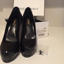 Ysl Yves Saint Laurent Black Patent Platform Leather Tribute Two Heels 38.5 8.5 Photo