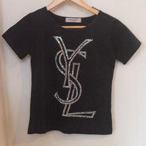 Ysl Yves Saint Laurent Black Rhinestone Crystal Short Sleeve Basic T-Shirt  S / Photo
