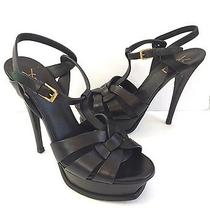 Ysl Yves Saint Laurent Black Tribute T-Strap Sandal Patent Leather Shoe 38.5 Photo