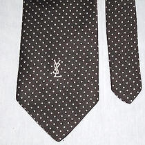 Ysl Yves Saint Laurent Black With White Polka Dots Neck Tie  Photo