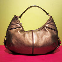 Ysl Yves Saint Laurent Bronze Metallic Leather Hobo Shoulder Bag Brass Sparkly Photo