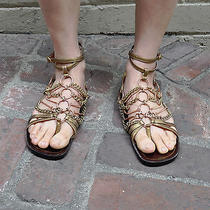 Ysl Yves Saint Laurent Brown Bronze Chain Flat Sandals 37.5 Italy Photo