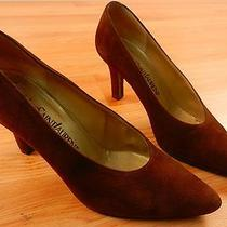 Ysl Yves Saint Laurent Brown Pumps Size 6.5 Womens Suede Leather Shoes 3