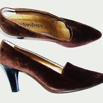 Ysl Yves Saint Laurent Brown Velvet Heels 10m Photo