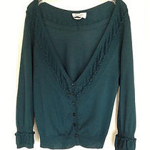 Ysl Yves Saint Laurent Cardigan Hunter Green Ruffle Wool M Rtw Spring 2006 Photo