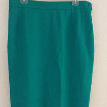 Ysl Yves Saint Laurent Encore Green Wool Pencil Skirt Sz 12 44 Euc Photo