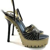 Ysl Yves Saint Laurent  Gold Commando Sole Army 105 Sandal Heels Shoes Size 38 Photo