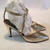 Ysl Yves Saint Laurent Gold Pointed Toe Ankle Strap Jewel Detail Size 5.5 Photo