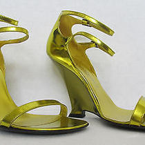 Ysl Yves Saint Laurent  Gold Wedge Sandal Shoes 695 Photo