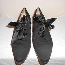 Ysl Yves Saint Laurent Granny Shoes W/ribbon Lace & Small Platform  10 Photo