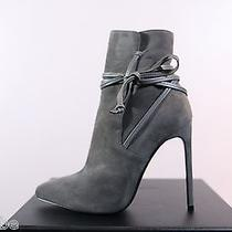Ysl Yves Saint Laurent Gray Suede Lace Ankle Boots Booties 40.5 10.5 1025 Photo