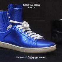 Ysl Yves Saint Laurent Hight-Top Blue Metal Leather Sneaker Shoes 37/7 640 Photo