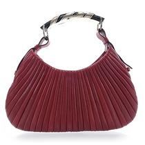 Ysl Yves Saint Laurent Lambskin Pleated Mombasa Hobo Bag Purse Handbag Red Photo