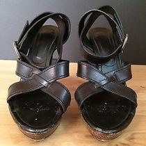 Ysl Yves Saint Laurent Leather Criss Cross High Heels Sandals Black Size 40 1/2 Photo