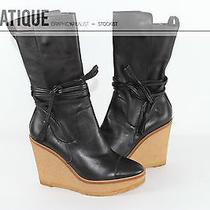 Ysl Yves Saint Laurent Leather Gum Sole Wedge Ysl Platform Boots Shoes Size 8 38 Photo