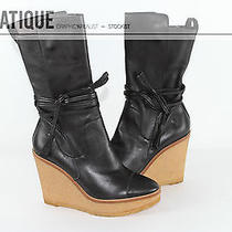 Ysl Yves Saint Laurent Leather Gum Sole Wedge Ysl Platform Boots Shoes Size 8 38 Photo