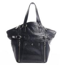 Ysl Yves Saint Laurent Leather Medium Downtown Tote Handbag Bag Purse Navy Blue Photo