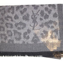 Ysl Yves Saint Laurent Logo Grey Leopard Print Scarf Cashmere Made in Italy Photo