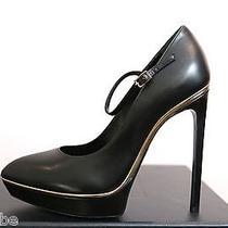 Ysl Yves Saint Laurent Maryjane Janis Black Platform Pumps Shoes 39.5 9.5 795 Photo