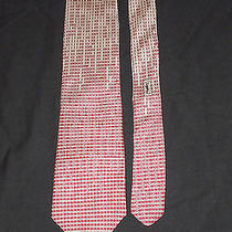 Ysl Yves Saint Laurent Matrix Pattern Silk Tie Red Tan Photo