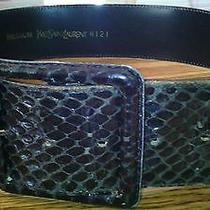 Ysl Yves Saint Laurent Medium Wide Black Snakeskin Belt Trendy Photo