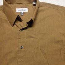 Ysl Yves Saint Laurent Men's Long Sleeve Beige Dress Shirt 16 32/33 Large Photo