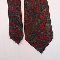 Ysl Yves Saint Laurent Men's Skinny Silk Dress Tie Necktie Paisley Burgundy Photo