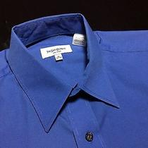 Ysl Yves Saint Laurent Mens 15 32/33 Blue Long Sleeve Cotton/polyester Shirt Photo