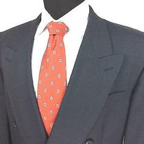 Ysl Yves Saint Laurent Mens 44r Charcoal Windowpane Double Breasted Suit Jacket Photo
