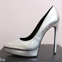 Ysl Yves Saint Laurent Metallic Janis Silver Platform Pumps Shoes 42 12 825 Photo
