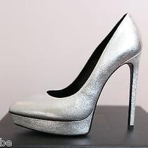 Ysl Yves Saint Laurent Metallic Janis Silver Platform Pumps Shoes 38 8 825 Photo