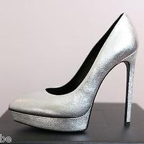 Ysl Yves Saint Laurent Metallic Janis Silver Platform Pumps Shoes 39.5 9.5 825 Photo