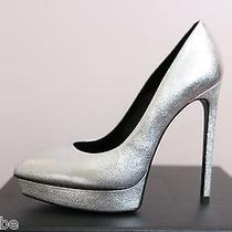 Ysl Yves Saint Laurent Metallic Janis Silver Platform Pumps Shoes 40.5 10.5 825 Photo