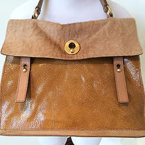 Ysl Yves Saint Laurent Muse Two Bag Camel Brown Pony Hair Patent Leather Satchel Photo