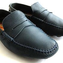 Ysl Yves Saint Laurent Navy Blue Leather Moccasins Driving Shoes Loafers 39.5  Photo