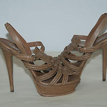 Ysl Yves Saint Laurent Nude/camel Tonal Sandals Sz. 39   11 Photo