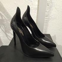 Ysl Yves Saint Laurent Paris Black Studded Stillettos (Size 7.5 Bnwt) Photo