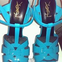 Ysl Yves Saint Laurent Paris Classic Tribute Sandal Turquoise Patent Leather 40 Photo
