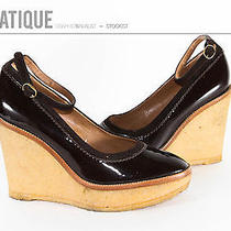 Ysl Yves Saint Laurent Patent Leather Gum Sole Wedge Ysl Shoes Size 8 38 Photo