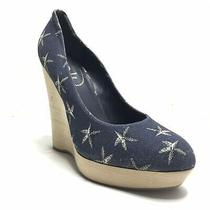 Ysl Yves Saint Laurent Platform Wedge Heels Star Blue Women's 41.5 11 11.5 Photo