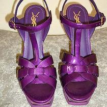 Ysl Yves Saint Laurent Purple Patent Leather Tribute Platform Shoes  Sz 40 Photo