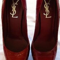 Ysl Yves Saint Laurent Red Leather Stiletto Platform Pumps Heels Shoes Sz 38 Photo