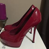 Ysl Yves Saint Laurent Red Patent Leather Shoes Heels Platform Size 40 Italy Photo