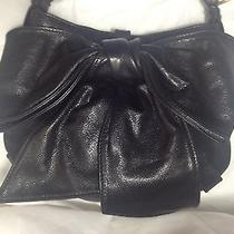 Ysl Yves Saint Laurent Rive Gauche Black Leather Large Bow Purse Shoulder Bag Photo