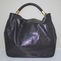 Ysl Yves Saint Laurent Roady Gray Patent Leather Large Hobo Bag Handbag Photo