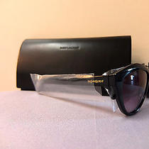 Ysl Yves Saint Laurent Sculpted Designer Cat Eye Black Sunglasses Brand New  Photo