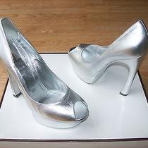 Ysl Yves Saint Laurent Shoes Palais Pumps Platform Silver Nappa Sz 40 Us 10 Nib Photo