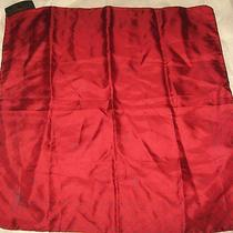 Ysl Yves Saint Laurent Signature Logo Red Pocket Square Silk Scarf 17