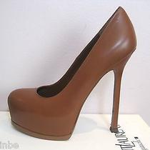 Ysl Yves Saint Laurent Tribtoo 105 Nappa Cognac Pumps Shoes Heels 39 9 795 Photo